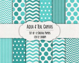 Canvas Texture Aqua & Teal Blue Digital Scrapbook Paper 12x12 - Set of 12 - Polka Dot, Chevron - Instant Download - Item# 8123