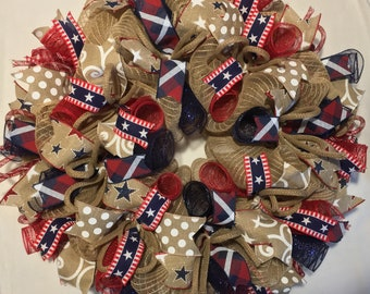 SALE Patriotic wreath, Patriotic burlap wreath, burlap patriotic wreath, Memorial Day decor, 4th of July wreath, patriotic wreaths, wreath