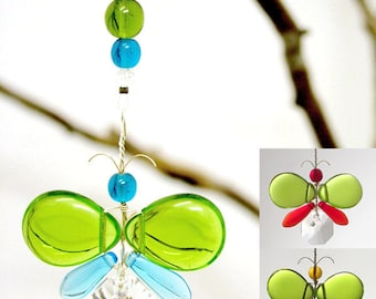 Easter Decoration Kids Gift Cute Car Accessories Rear View Mirror Charm Green Butterfly Angel Ornament Window Suncatcher Hanging Crystals