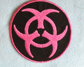"""Hot Pink Biohazard Iron on Patch 2.75"""" & 4.5"""""""