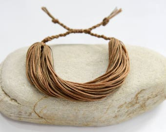Brown String Bracelet For Women, Gift For Her Or Him, Rustic Bracelet, Organic Jewelry, Natural Bracelet, Hipster Jewelry, Thread Bracelet