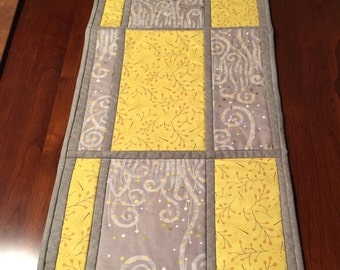 Grey and Yellow Table runner