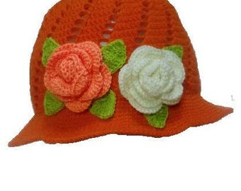 free shipping crochet flower hat