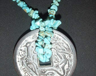 Turquoise Nuggets Entwined in a Chinese Disk