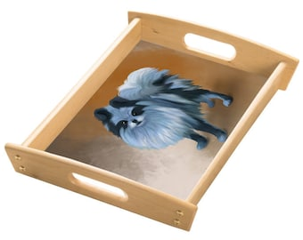 Pomeranian Dog Wood Serving Tray with Handles Natural