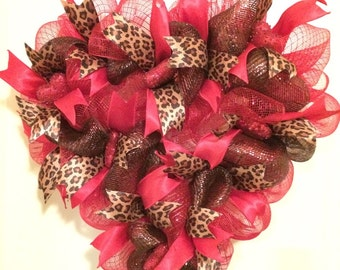 Valentine's Day wreath, heart shaped with red and leopard