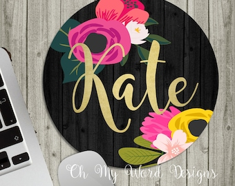 Personalized Mouse Pad-Monogram Mouse Pad-Desk Accessories-Watercolor Flowers-Round Mouse Pad-Rugby Stripes