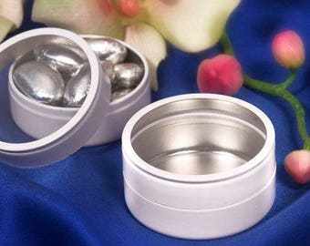 50 Perfectly Plain Collection White Metal Mint Tin With A Clear Plastic Top  - Set of 50