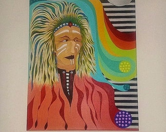 ON SALE NOW Abstract Indian chief Original Acrylic Painting on Canvas Native American Fantasy Art By Warren Jay