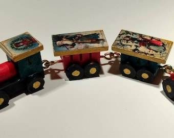 12th scale dolls house Wooden Christmas toy train set