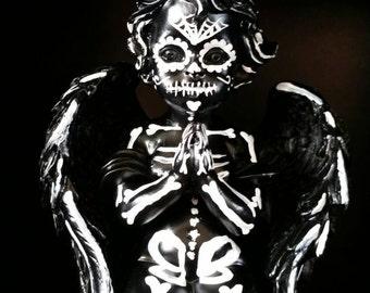 Hand painted skeleton cherub dia de los muertos day of the dead