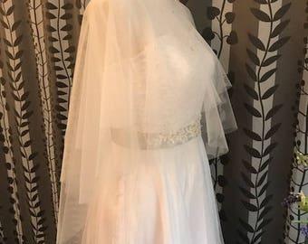 Bridal Cover Up Tulle Bolero, PLAIN, NO Lace, Soft Tulle, White/Off-white/Champagne__ CU03