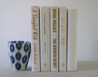 Decorative Book Set in Ivory, Book Bundle, Wedding Centerpiece, Shelf Decor, Ivory Decor, Book Stack, Books by Color, Mantel Decoration