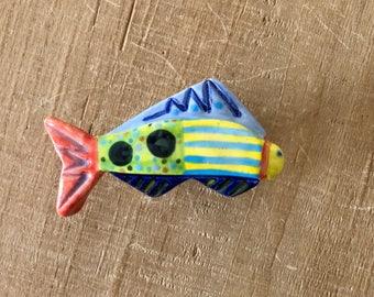 Colorful Fish Knob, Nautical Knob, Beach House Knob, Ceramic Fish Knob, Fish Drawer Pull, Fish Handle, Cabinet Pull Knob, Fish Pull Knob