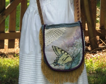 gypsy bag, tapestry bag, victorian bag,  boho bag purse,  cross body bag, butterfly bag, lace bag purse