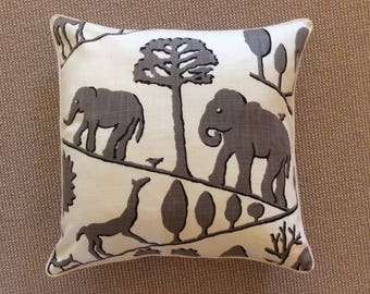 Jungle walk in gray,off, white and black-Pillow cover