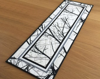 Modern Quilted Table Runner, Black Fabric Table Runner, Contemporary Table Topper, Table Centrepiece, Winter Tree Quilted Wall Hanging