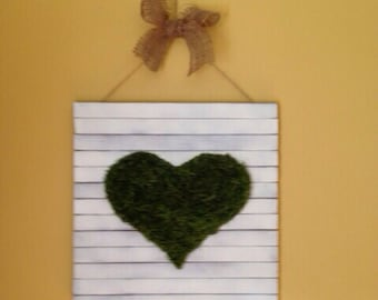 Spanish Moss Heart wall plaque DESIGN UR OWN