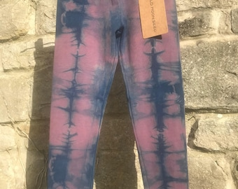 AGE 4-5 LEGGINGS hand dyed with the natural plant dye indigo and cold water dye.