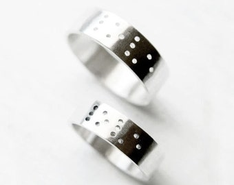 LOVE in Braille Rings Set - Promise Ring Set - Promise Ring Jewelry - Jewelry for Couples - Jewelry for the Blind - Promise Ring For Her