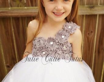 Blanc et gris de robe Tutu shabby Chic Flower Girl