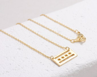 Delicate Illinois Chicago Flag Necklace/ gold, rose gold, silver