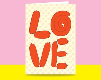 Greeting Card - Love Sausages | Valentine's Day Card | Romantic Card