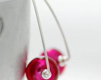 Fuchsia Earrings, Fuchsia Wedding, Simple Modern Earrings, Hot Pink Earrings, Sterling Silver, Wedding Jewelry Under 50
