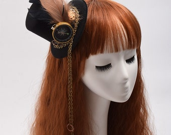 Vintage Victorian Steampunk Hat Feathers Gear Glasses Gothic Hat Cosplay accessories Steampunk accessories