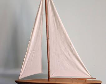 Vintage  Model Sailboat 40 Inch Pond Model Sailing Nautical Maritime Pond Yacht