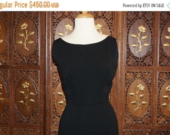 ON SALE 1960s Peggy Hunt LBD with Feathered Hem