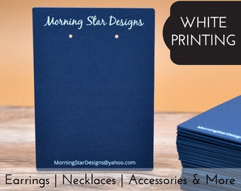 14 SIZES | WHITE PRINT Custom Earring Cards | Sharper Corners - Product display packaging - Jewelry Tags - Necklace Cards