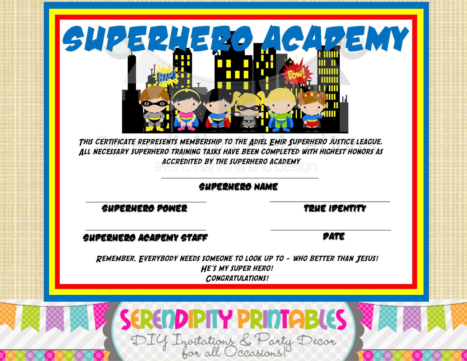 Astounding image intended for superhero certificate printable