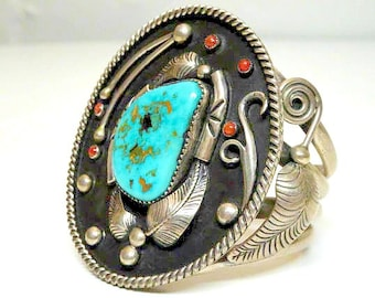 Navajo Walter Mitchell Sterling Silver Cuff Bracelet With Turquoise and Coral - FREE SHIPPING