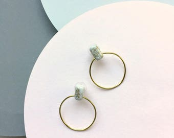 Minimalist earrings, gold hoop earrings,gold hoops,statement earrings,post earrings,polymer clay jewelry,open circle earrings,white earrings