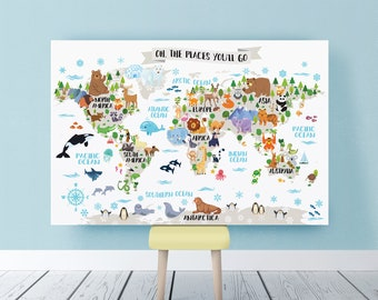 Kids world map etsy printable nursery animal world map for kids room decor animal wall map world map nursery map kids map art kid wall art world map poster baby gumiabroncs Gallery