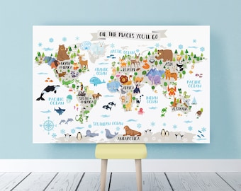 Kids world map etsy popular items for kids world map gumiabroncs Images