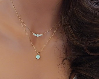 Opal Pendant Necklace • White Opal • Gift for Girlfriend • Dainty Gold Necklace •  October Birthstone • Beaded Opal [8-345]
