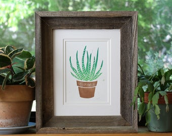 SALE, Succulent Art, Succulent Print, Linocut, Hand Printed, Block Print, Printmaking, Cactus Art, Green Art, Cacti, Cacti Art, Hand Made