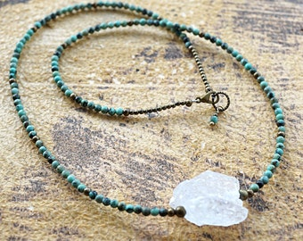 Raw Rock Quartz Necklace Natural African Turquoise Necklace Small Petite Beads Thin Necklace Statement Bohemian mens custom necklace