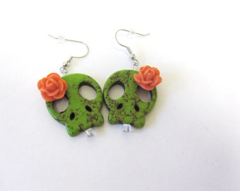 Sugar Skull Earrings Day Of The Dead Jewelry Sliced Green Coral Orange