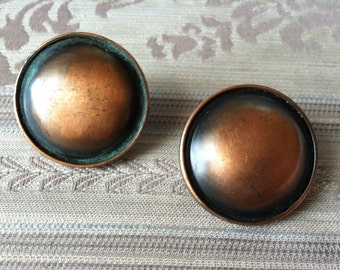 "Vintage 70's ""LARGE COPPER BUTTON""  with Rimmed Frame"