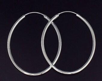 1 pair of 925 Sterling Silver Oval Hoop Earrings 35x45mm. :er0752