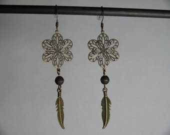 Bronze metal flowers and feathers earrings