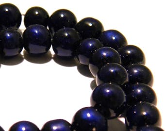 25 beads 8 mm - blue night - speckled black glass bead painted glass - 8 mm - 5 K25