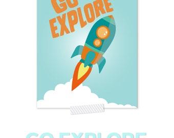 Space Art, Space Nursery Art, Rocket Ship, Baby Boy Nursery, Explore Print, Boy Nursery Decor, Orange And Blue Nursery, Kids Space Art