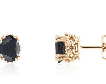 """14K Yellow Gold Sapphire Stud Earrings - Genuine """"Black"""" Australian Sapphire Gemstone Earrings - September Birthstone - Gift for Her"""