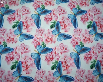 Blue fabric C781 butterflies and roses coupon 50x50cm