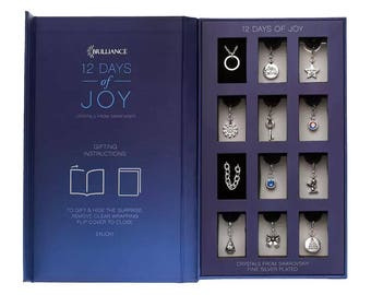 Christmas Calendar Jewelry Set '12 Days of Joy' Bracelet Necklace Charms with Swarovski crystals