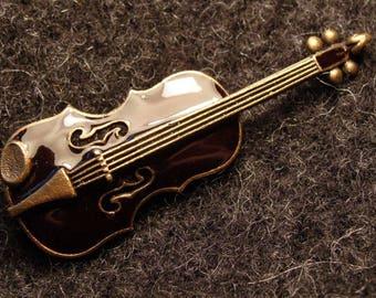 VIOLIN, handmade costume brooch with a pin, musician jewellery fantasy original